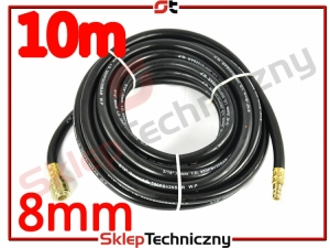 Gumowy Wąż Pneumatyczny do kompresora 10m 8mm czarny