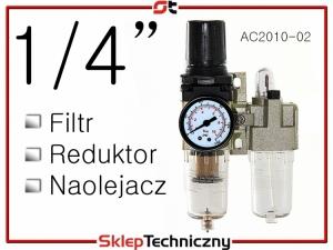 """Filtr Reduktor Naolejacz Zespół przygotowania powietrza 1/4"""" AC2010-02"""