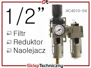 """Filtr Reduktor Naolejacz Zespół przygotowania powietrza 1/2"""" AC4010-04"""