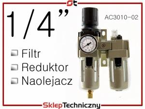 """Filtr Reduktor Naolejacz Zespół przygotowania powietrza 1/4"""" AC3010-02"""